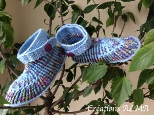 Booties bleue-violet 1